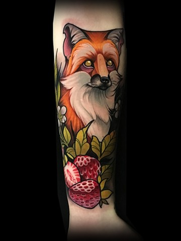 Fox strawberry neotraditional tattoo by Matt Truiano
