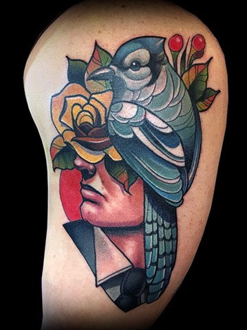 Neotraditional blue jay man head tattoo by Matt Truiano