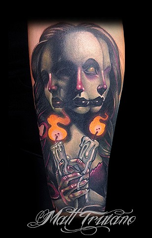 hecate greek god girl color tattoo matt truiano candle flame fire