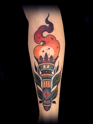 Neotraditional torch tattoo by Matt Truiano