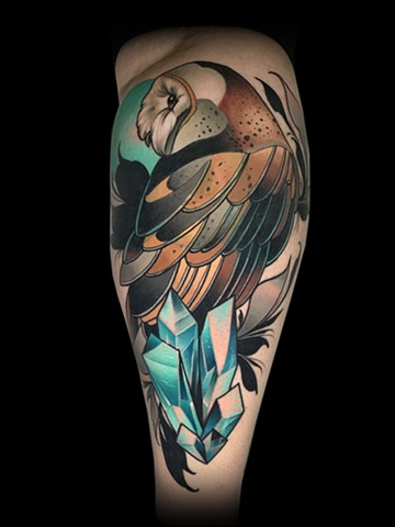 neotraditional barn owl coverup tattoo by matt truiano