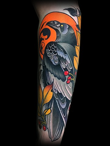 Neotraditional raven tattoo by matt Truiano