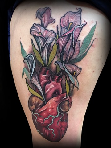 neo traditional color tattoo heart cala lilies flowers nyc matt truiano