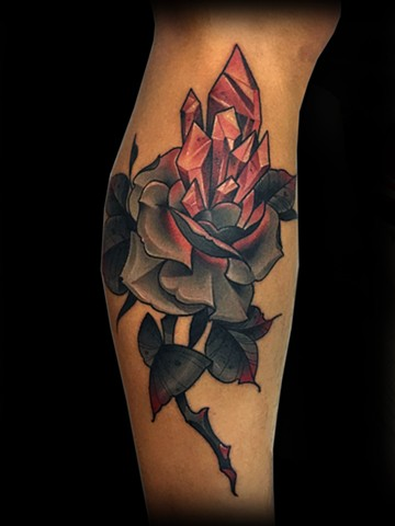 Neotraditional rose crystal tattoo by Matt Truiano