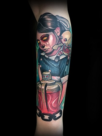 Neotraditional bioshock little sister tattoo by Matt Truiano