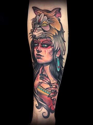 neo traditional headdress wolf fox nyc lady head color tattoo matt truiano