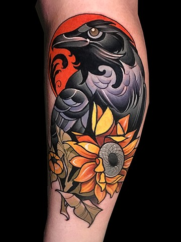 Neotraditional raven sunflower coverup tattoo by Matt Truiano
