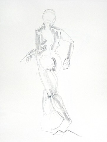 Back view of a nude model