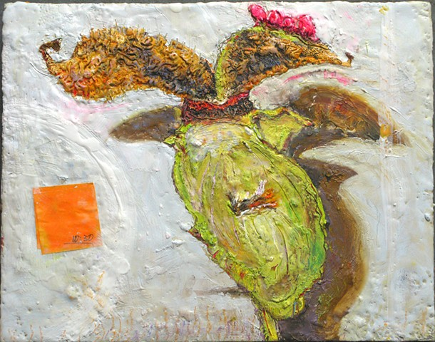 Oil and Encaustic painting of a peony seedpod just opened, in front of the fridge