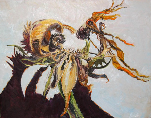 Oil and Encaustic painting of a Calendula seed pod.