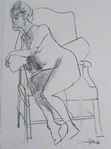 Andrew Portwood drawings in charcoal figures, nudes