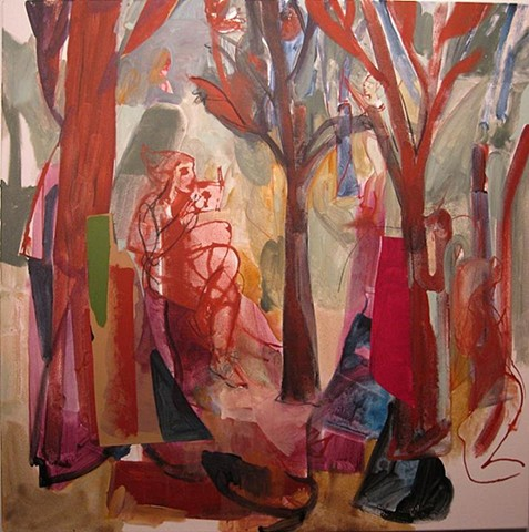 garden, figures, landscape, abstract