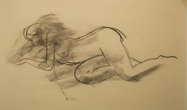 female charcoal figure drawing nude