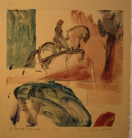 horses, myth, story, abstract landscape, works on paper, oil, drawing