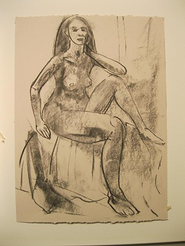 charcoal figure drawing, live model sitting, female form, nude, fashion, art