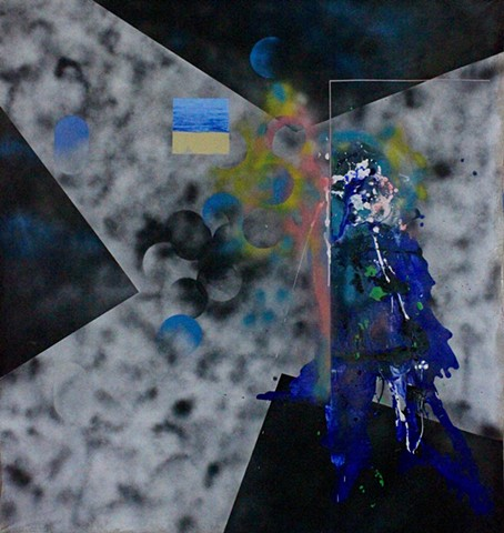 abstract landscape, abstract painting, mixed media, splash and drips, dada, geometric abstraction