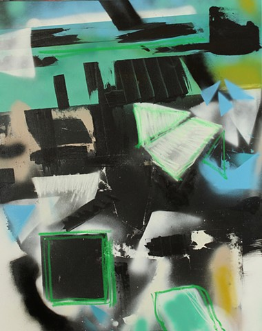 what would it take, green and blue abstract painting, fragmented areas, floating planes by Kyle Miller artist