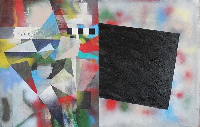 black void, message, spray paint art, split canvas geometric abstract painting by kyle a miller