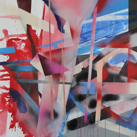 Within All of Us abstract painting  by kyle a miller  is a play of planes in red, pink and blue. layered geometric abstract painting