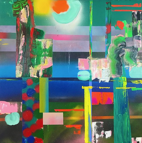 green , blue and pink abstract painting, multiple horizons
