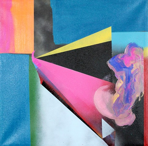 The distance painting, abstract space with teal, pink and orange