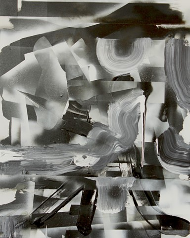 black and white painting, black and white spray painting, abstract paint with black and white by Kyle Miller artist