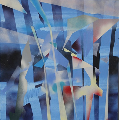 vertical patterns and planes, blue composition geometric abstract painting by Kyle Miller artist
