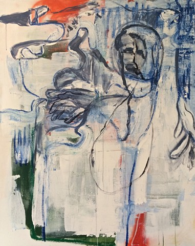 bottle of wine, drunk man, loose abstract figurative work