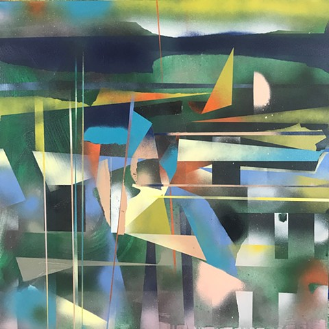 spray paint abstract landscape, abstract painting, mixed media, splash and drips,, dada, geometric abstraction, pink green painting by kyle a miller