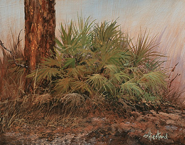 Florida palmetto and Pine trees painting acrylic Scott Hiestand
