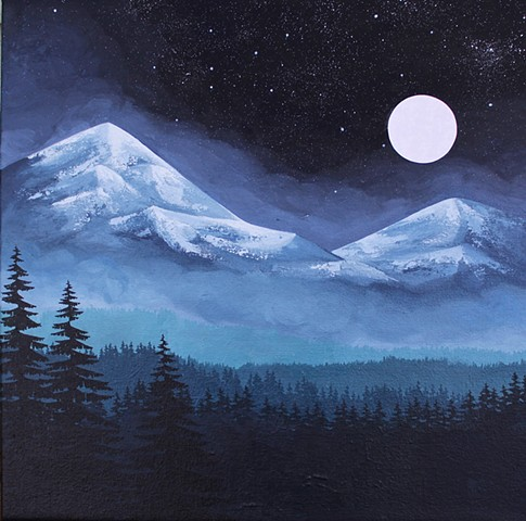acrylic, painting, mountains, trees, moon, stars, west coast