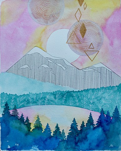 mountains, watercolour, moon, sun, pink, green, gold, trees, west coast, pacific