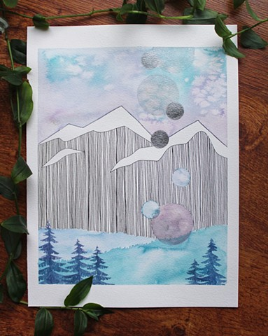 watercolour, paint, painting, mountain, moon, trees, west coast, blue, purple, green