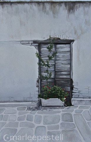 photorealist, greece, abandoned homes