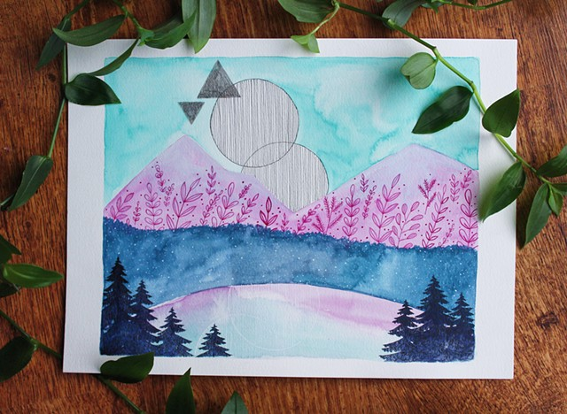 watercolour, paint, painting, mountain, moon, trees, west coast, blue, pink, green
