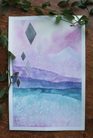 watercolour, paint, painting, mountain, moon, trees, west coast, blue, pink, purple, green