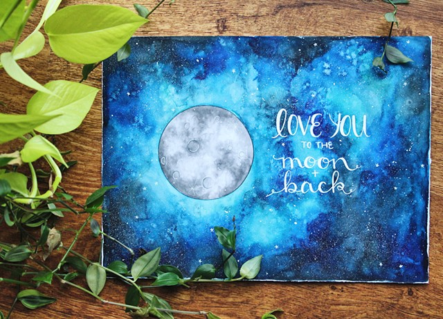 moon, night, night sky, love you, love, stars