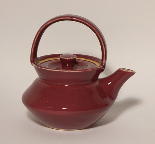 Red Small Basket Handle Teapot