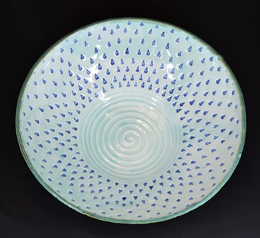 Celadon Stamped Large Center Bowl