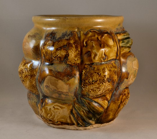 Amber Stamped and Carved Planter