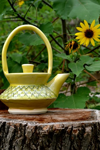 Yellow Stamped Basket Teapot