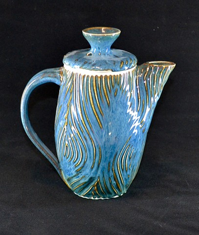 Blue Hairs Carved Teapot