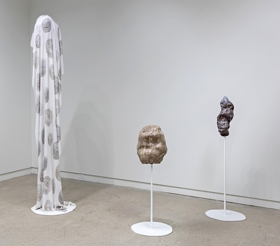 installation view: 'turn that brown upside down' showing 'Ghostface/Glacierface Pillar' and 'Untitled Blobs'