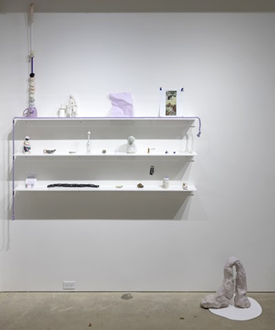 installation view 'Possibly becoming a problem (i.e. anal retention): Shelf display'