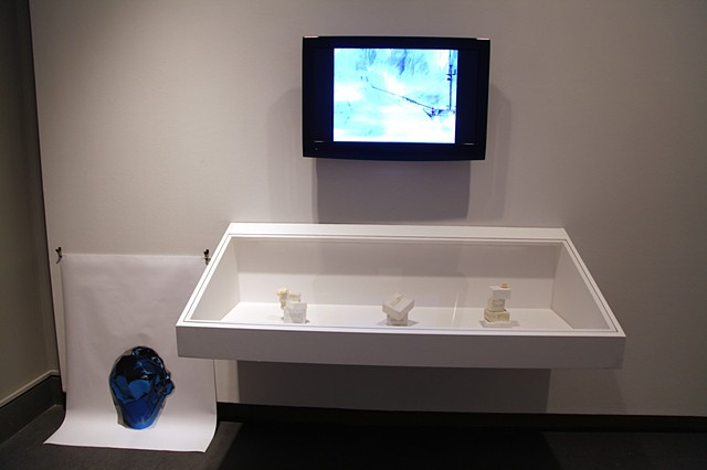 installation view: Expeditions showing: All-One!s (Bars of Dr. Bronner's), Older, Sadder, And All In White This Time, and Helgi Husið: Nóatún  Ottawa Art Gallery Sep 21, 2012 - Jan 12, 2013