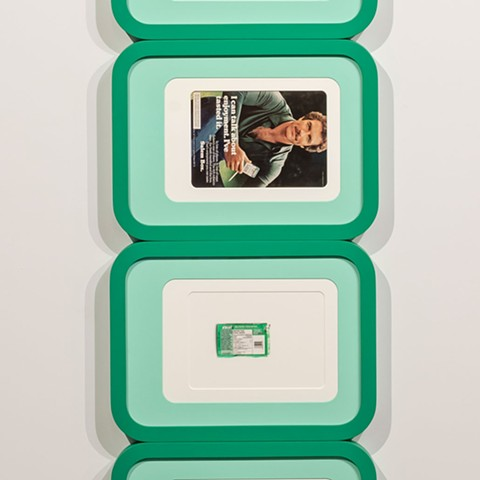 Tom Selleck stack with image of found Excel gum pack photographed and printed to scale, the colours of which determined the colours of the frames