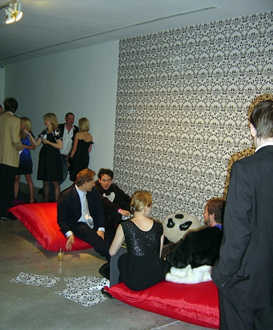 'Panda Orgy' with 'Fucking Pandas' wallpaper by Kate Terry & Gary Colclough
