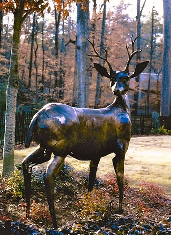 Bronze Stag sculpture by Thomas Prochnow