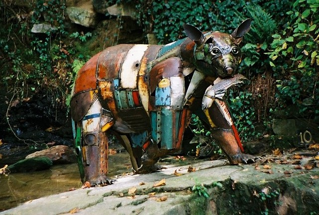 """Bear"" found object sculpture by Thomas Prochnow"