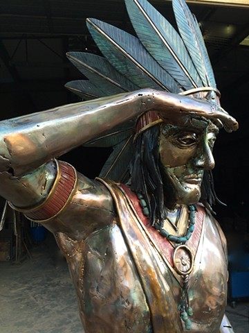 Cigar Store Indian in Bronze   Thomas Prochnow Studio